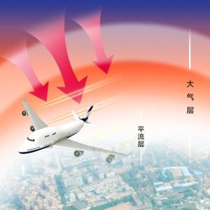 以为是什么天上掉下来的东西,等拉近放大才知道,那是飞机排出的热量