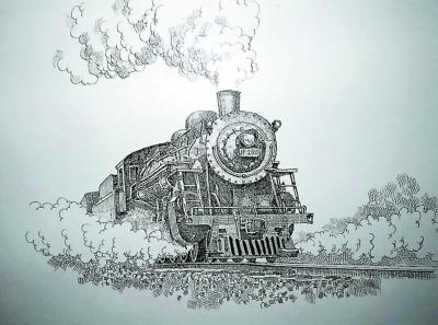 手绘火车餐厅图片